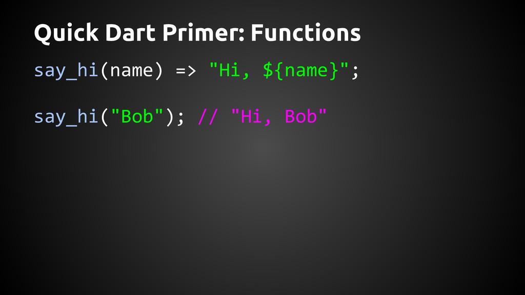"""Quick Dart Primer: Functions say_hi(name) => """"H..."""