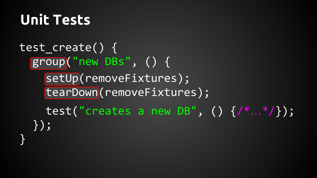 """Unit Tests test_create() { group(""""new DBs"""", () ..."""