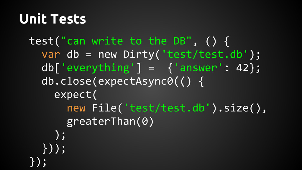 """test(""""can write to the DB"""", () { var db = new D..."""