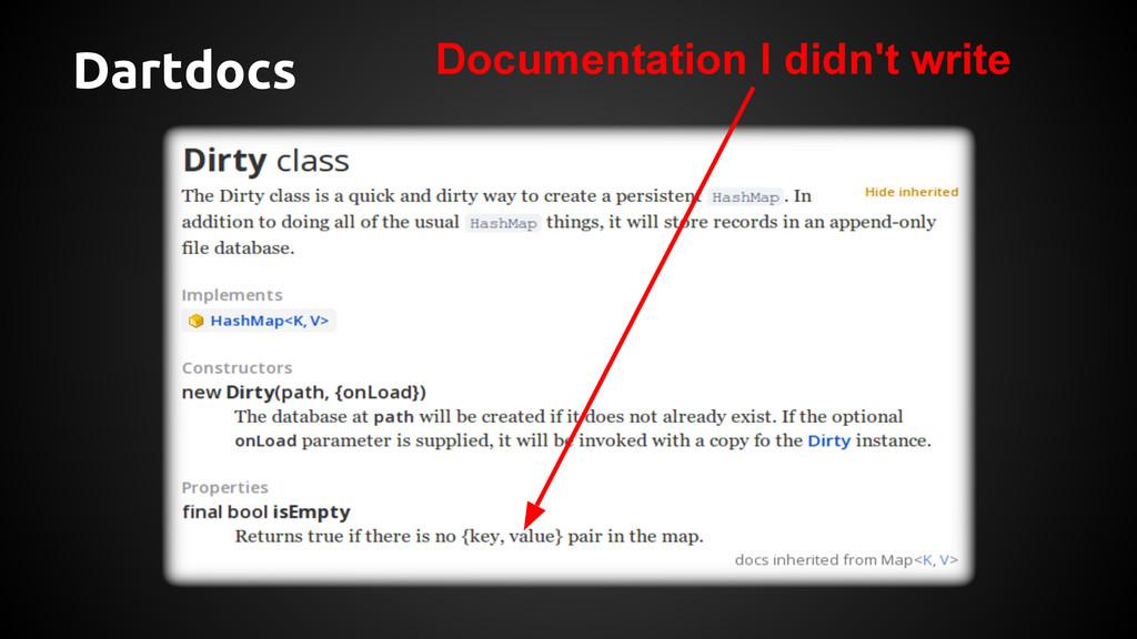 Dartdocs Documentation I didn't write