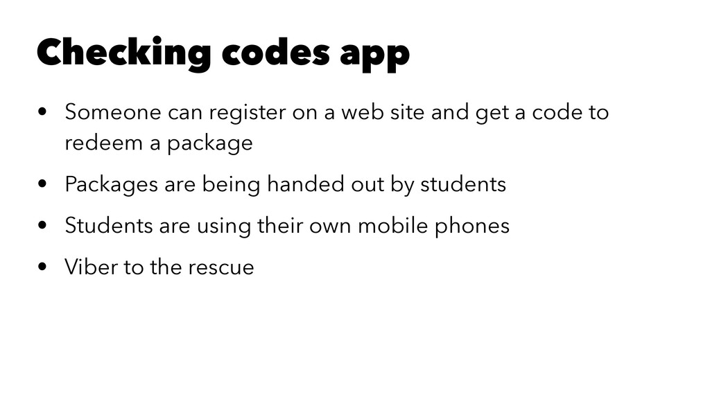 Checking codes app • Someone can register on a ...
