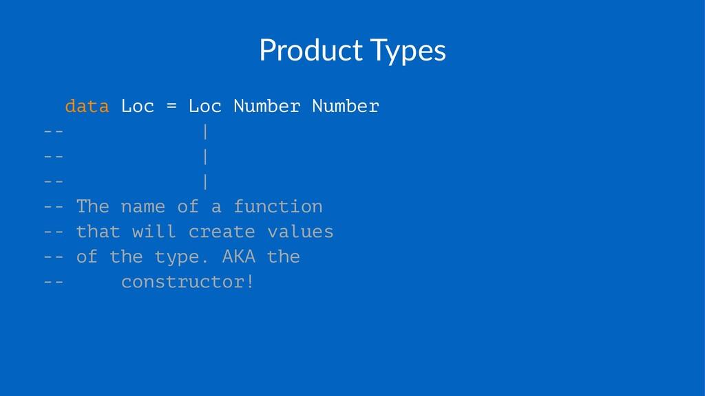 Product(Types data Loc = Loc Number Number -- |...