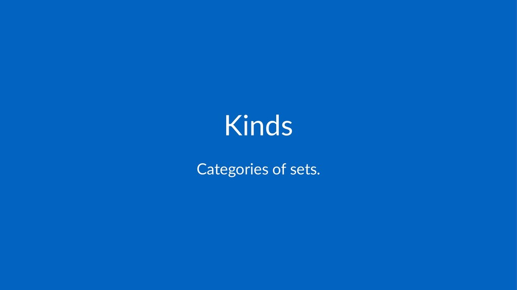Kinds Categories*of*sets.