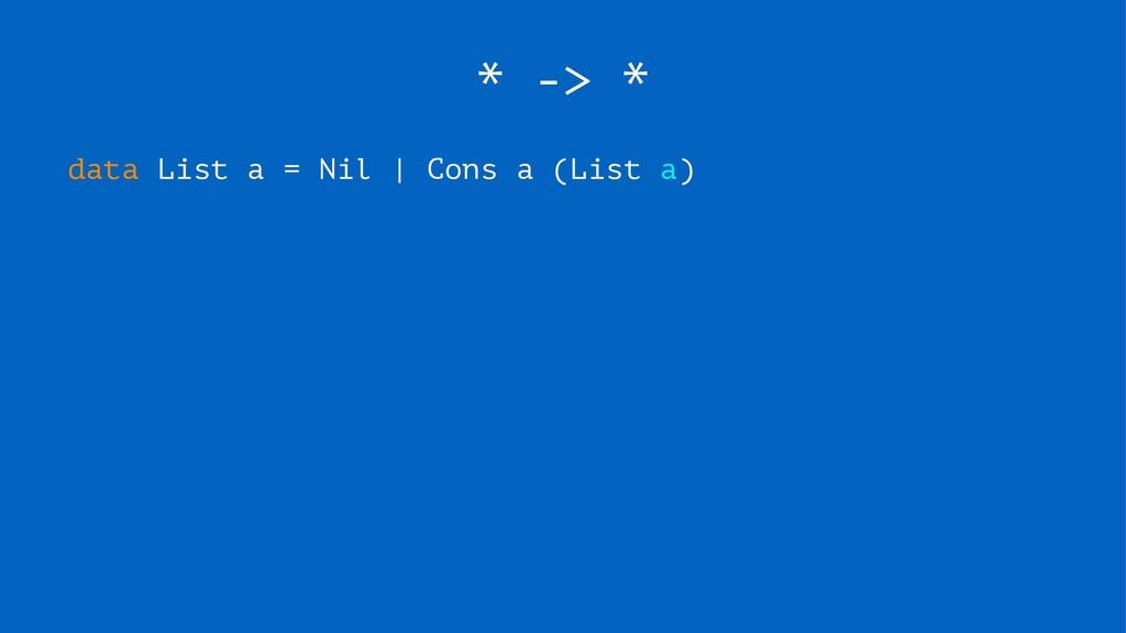 * -> * data List a = Nil | Cons a (List a)