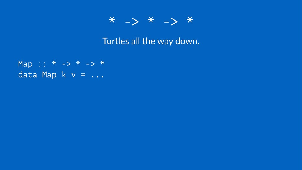 * -> * -> * Turtles(all(the(way(down. Map :: * ...