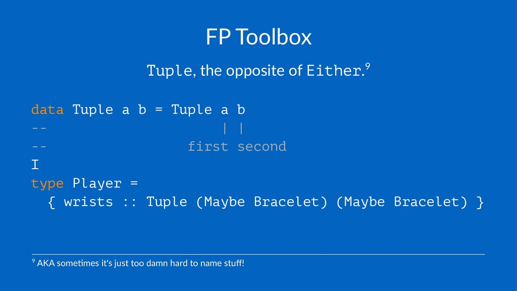 """FP#Toolbox Tuple,""""the""""opposite""""of""""Either.9 data..."""