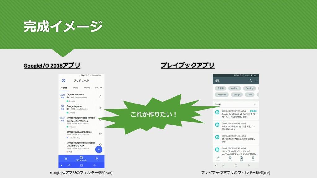 完成イメージ GoogleI/O 2018アプリ プレイブックアプリ GoogleI/Oアプリ...