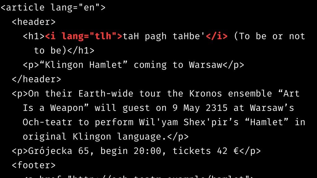 """<article lang=""""en""""> <header> <h1><i lang=""""tlh"""">..."""