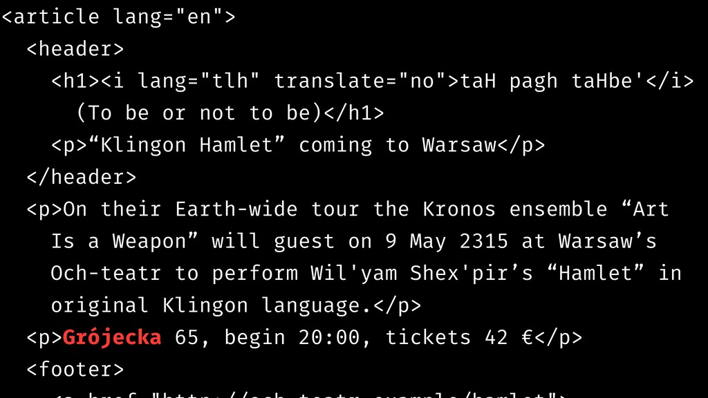 """<article lang=""""en""""> <header> <h1><i lang=""""tlh"""" ..."""