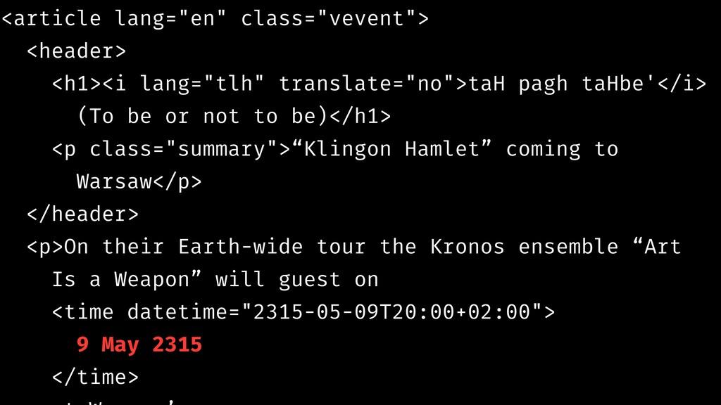 """<article lang=""""en"""" class=""""vevent""""> <header> <h1..."""