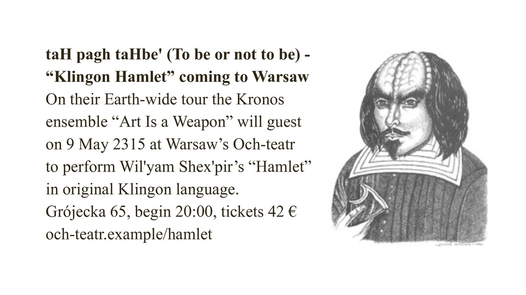 """taH pagh taHbe' (To be or not to be) - """"Klingo..."""