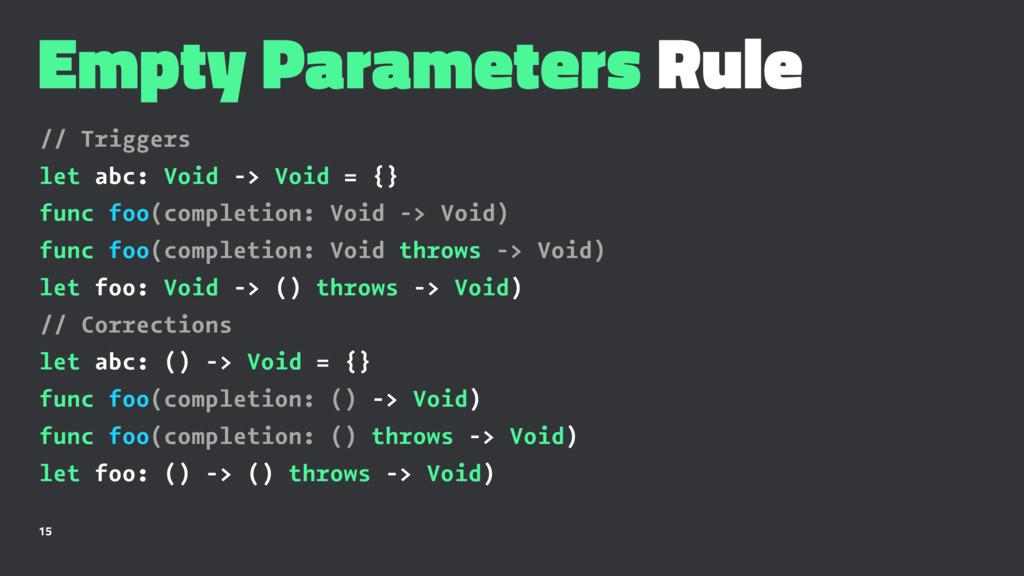 Empty Parameters Rule // Triggers let abc: Void...