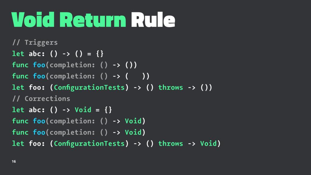 Void Return Rule // Triggers let abc: () -> () ...