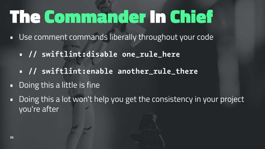 The Commander In Chief • Use comment commands l...