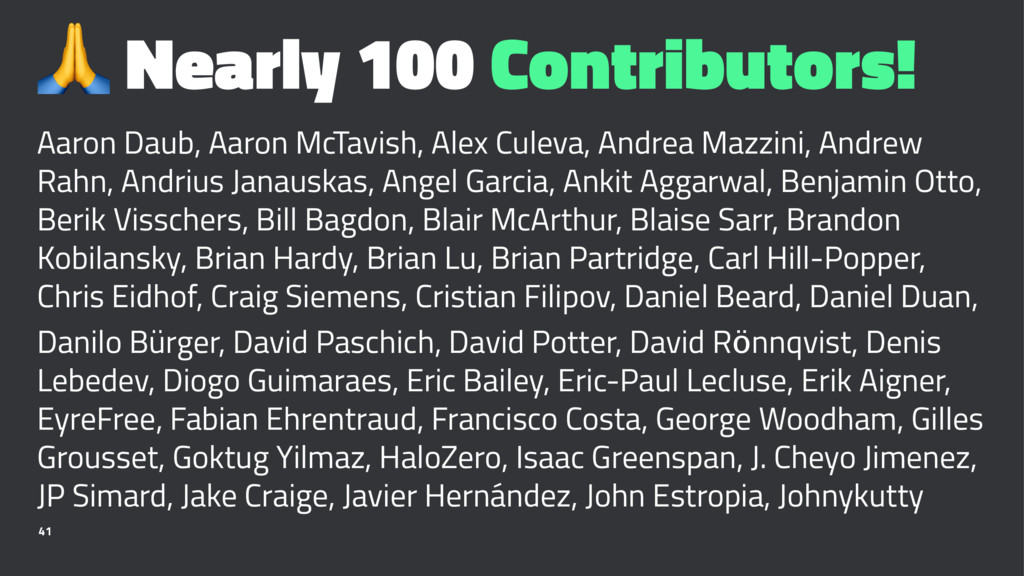 ! Nearly 100 Contributors! Aaron Daub, Aaron Mc...