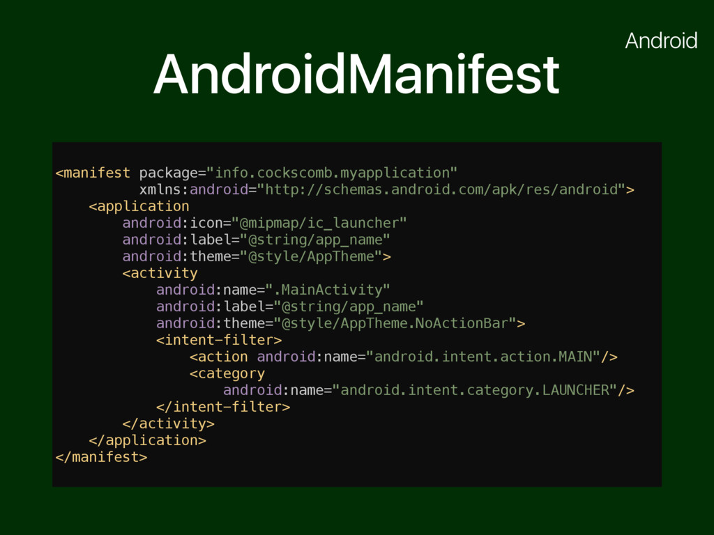 "AndroidManifest <manifest package=""info.cocksco..."