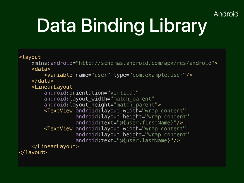 "Data Binding Library <layout xmlns:android=""htt..."