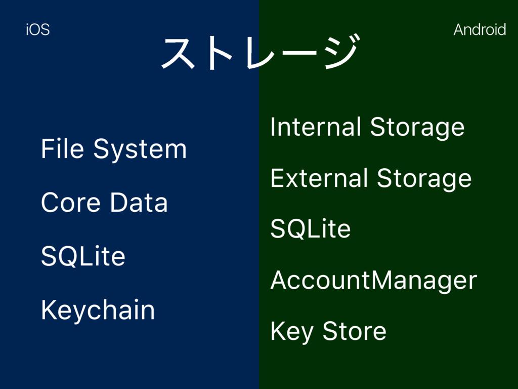 ετϨʔδ File System Core Data SQLite Keychain Int...