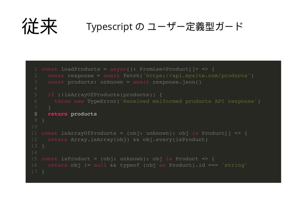 従来 const loadProducts = async(): Promise<Produc...