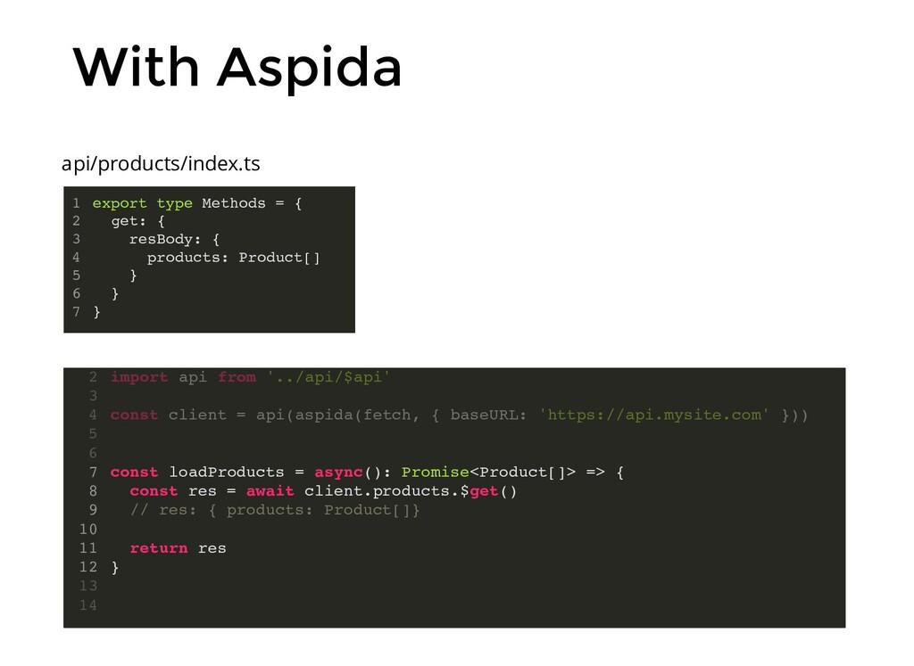 With Aspida import aspida from '@aspida/axios' ...