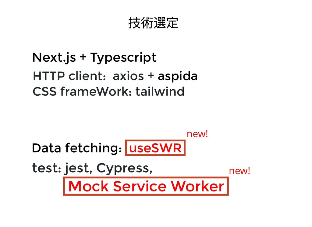 技術選定 HTTP client: axios + aspida CSS frameWork:...