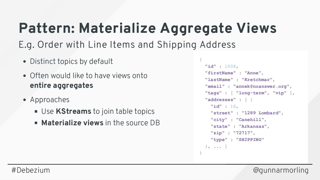 Pattern: Materialize Aggregate Views Pattern: M...