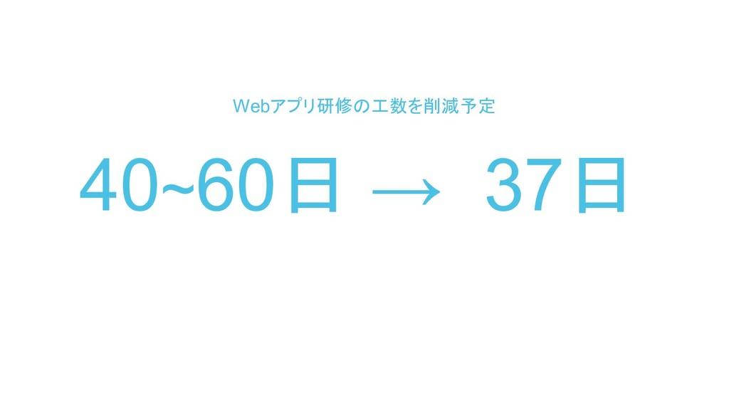 40~60日 → 37日 Webアプリ研修の工数を削減予定