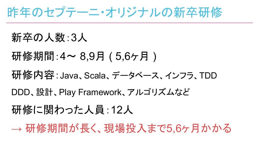 新卒の人数:3人 研修期間:4〜 8,9月 ( 5,6ヶ月 ) 研修内容:Java、Scala...