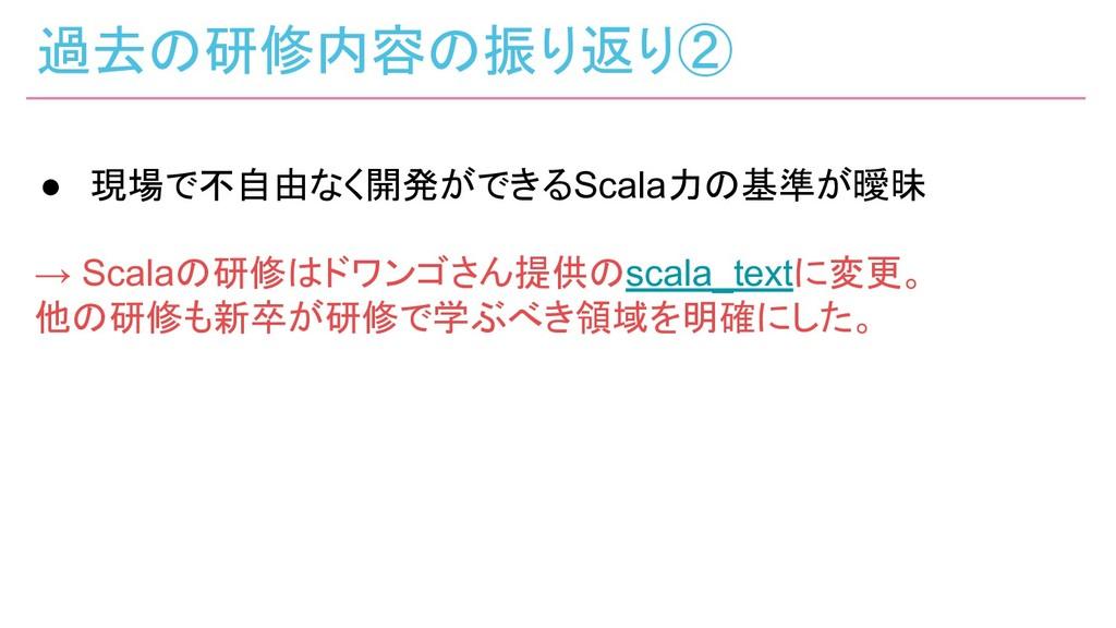 過去の研修内容の振り返り② ● 現場で不自由なく開発ができるScala力の基準が曖昧 → Sc...