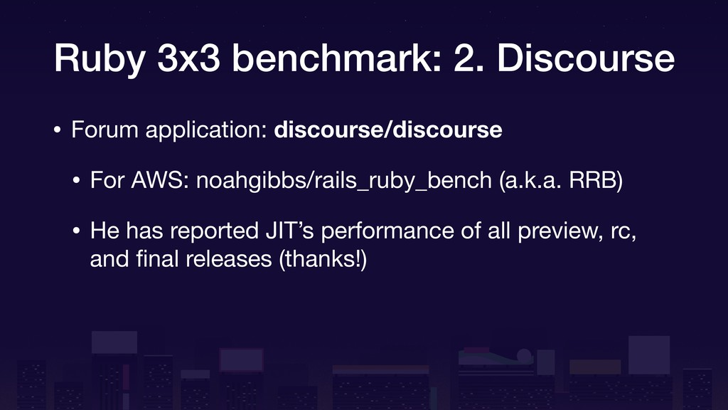 Ruby 3x3 benchmark: 2. Discourse • Forum applic...