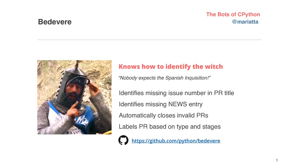 """Bedevere Knows how to identify the witch """"Nobod..."""