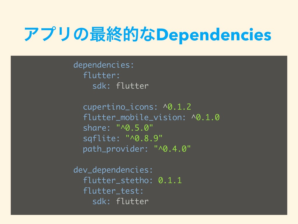 ΞϓϦͷ࠷ऴతͳDependencies dependencies: flutter: sdk...