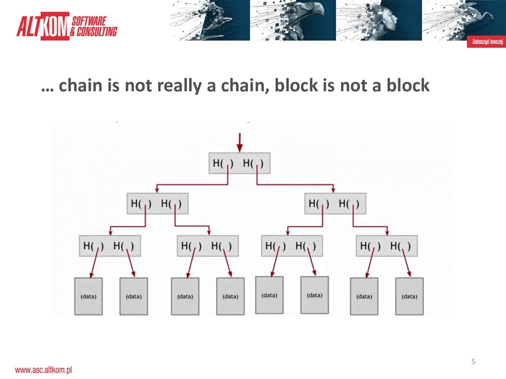 5 … chain is not really a chain, block is not a...