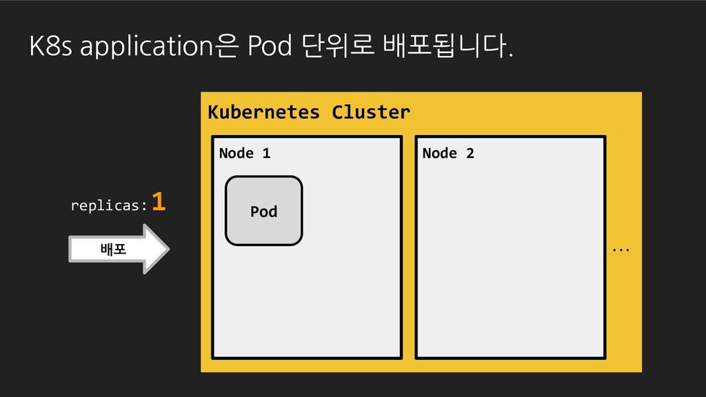 배포 replicas: 1 K8s application은 Pod 단위로 배포됩니다. ...