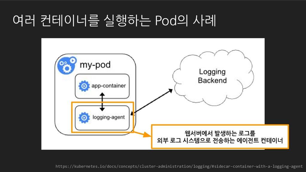 웹서버에서 발생하는 로그를 외부 로그 시스템으로 전송하는 에이전트 컨테이너 https...