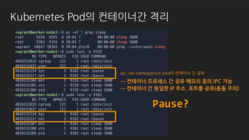 Kubernetes Pod의 컨테이너간 격리 Pause? ipc, net namesp...