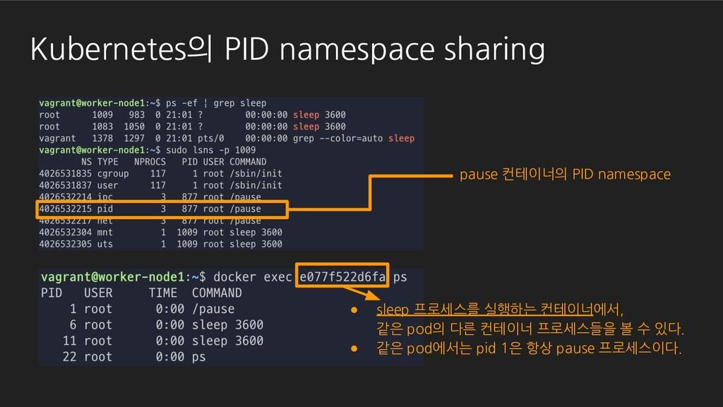 Kubernetes의 PID namespace sharing pause 컨테이너의 P...