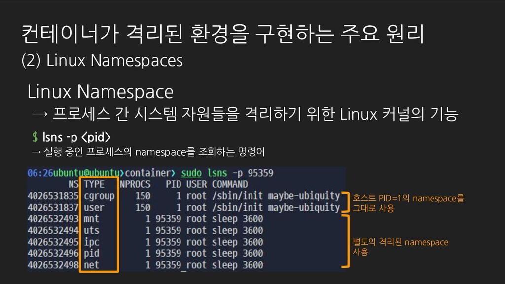 컨테이너가 격리된 환경을 구현하는 주요 원리 (2) Linux Namespaces $...