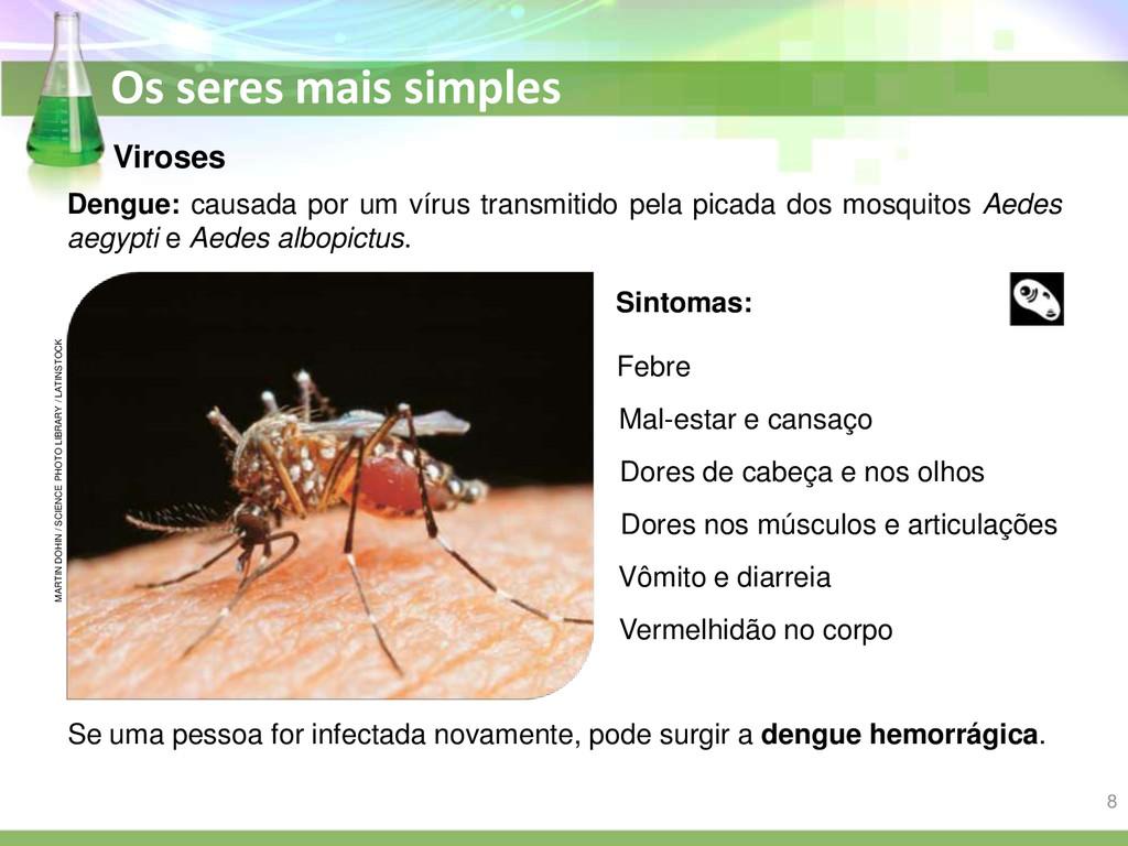 Os seres mais simples Dengue: causada por um ví...