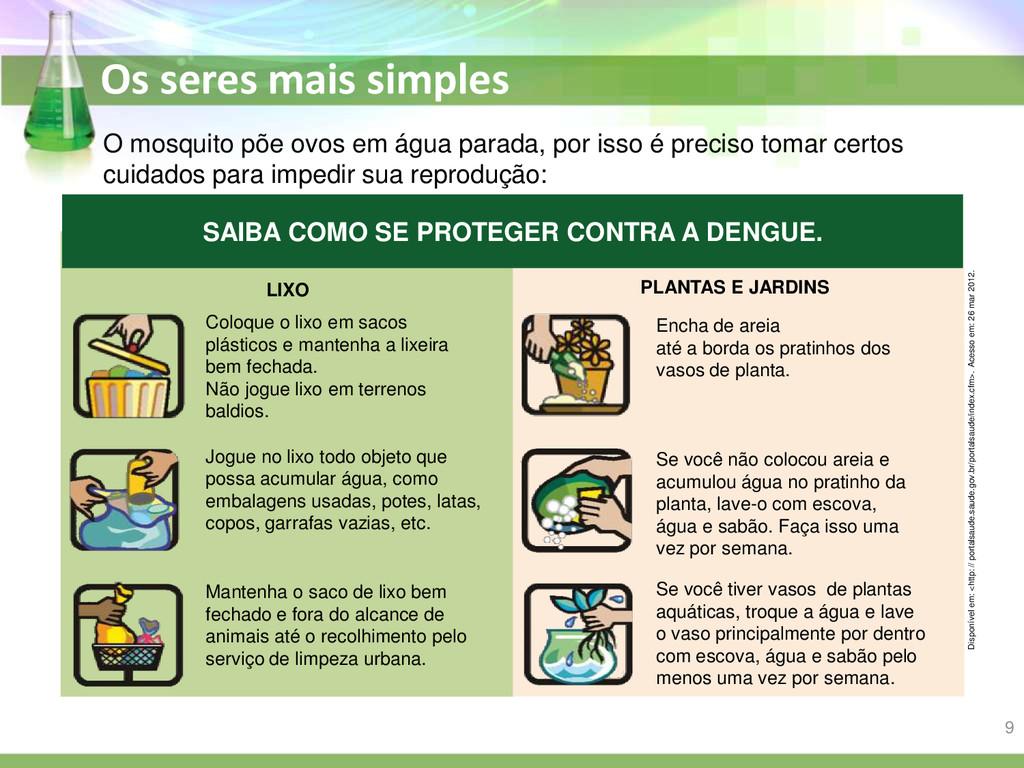 Os seres mais simples O mosquito põe ovos em ág...