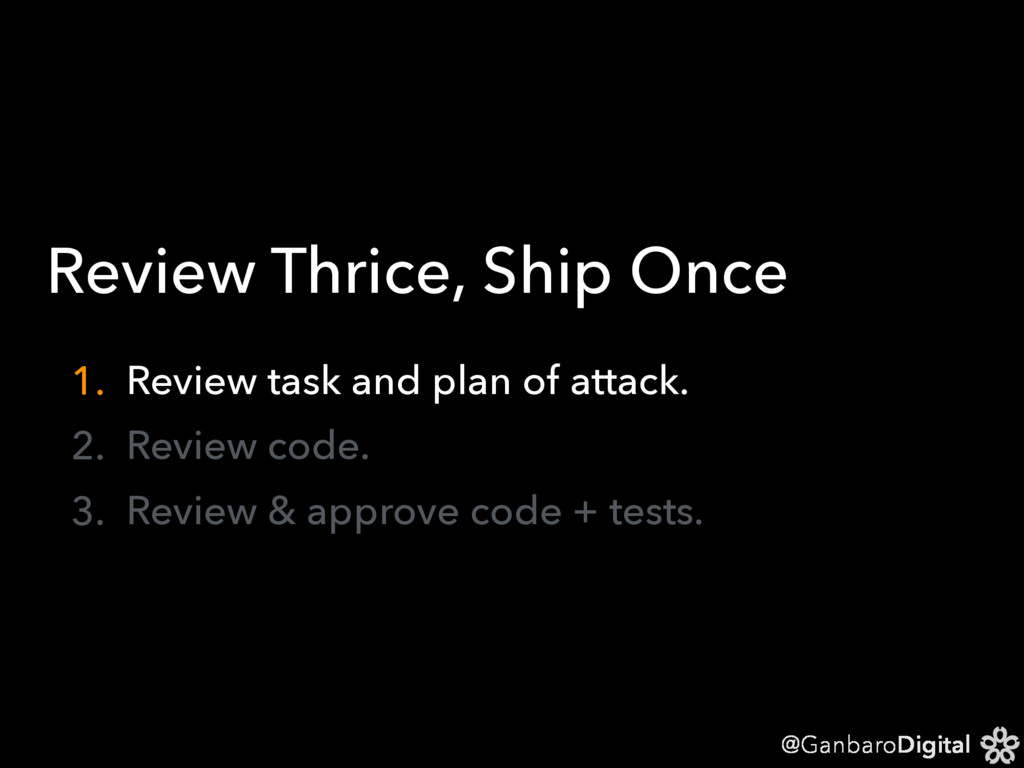@GanbaroDigital Review Thrice, Ship Once 1. Rev...