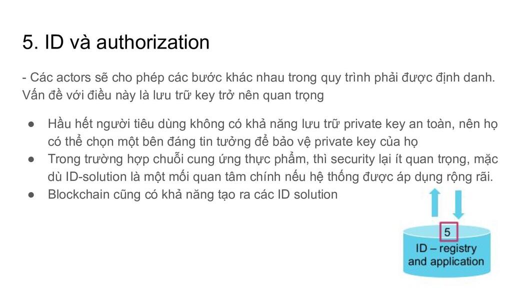 5. ID và authorization - Các actors sẽ cho phép...