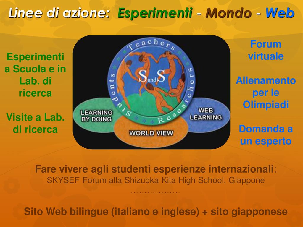 Linee di azione: Esperimenti - Mondo - Web Fare...