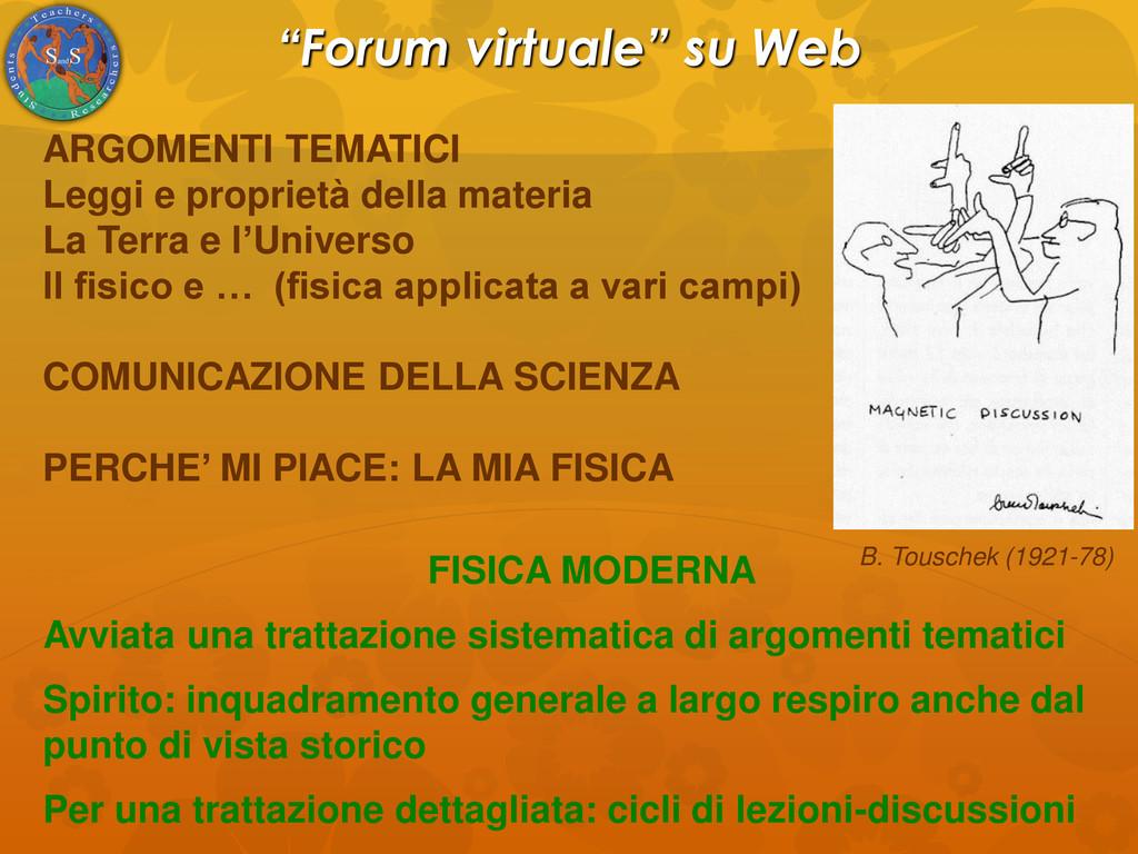 """""""Forum virtuale"""" su Web ARGOMENTI TEMATICI Legg..."""