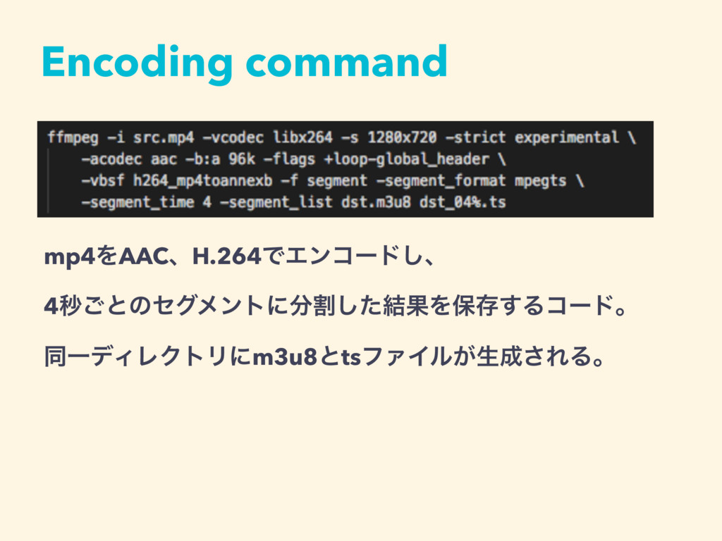 Encoding command mp4ΛAACɺH.264ͰΤϯίʔυ͠ɺ 4ඵ͝ͱͷηάϝ...