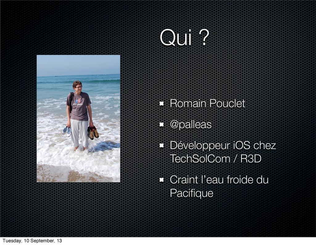 Qui ? Romain Pouclet @palleas Développeur iOS c...