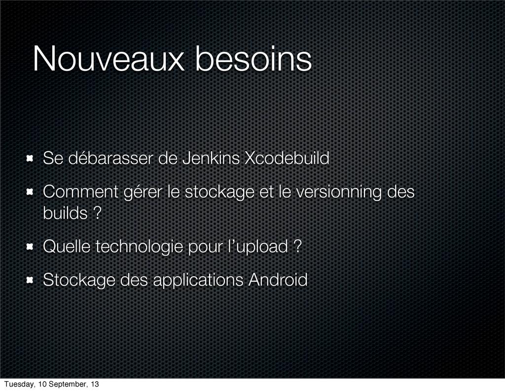 Nouveaux besoins Se débarasser de Jenkins Xcode...