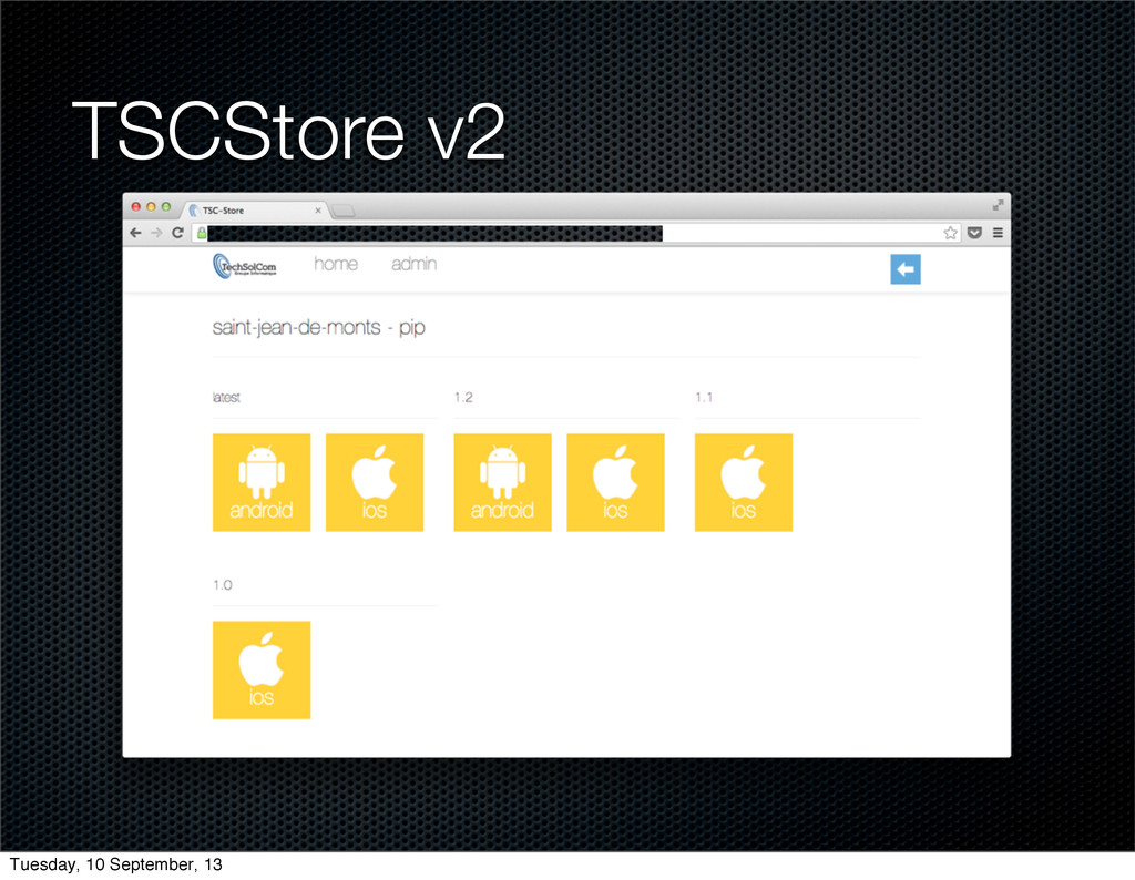 TSCStore v2 Tuesday, 10 September, 13