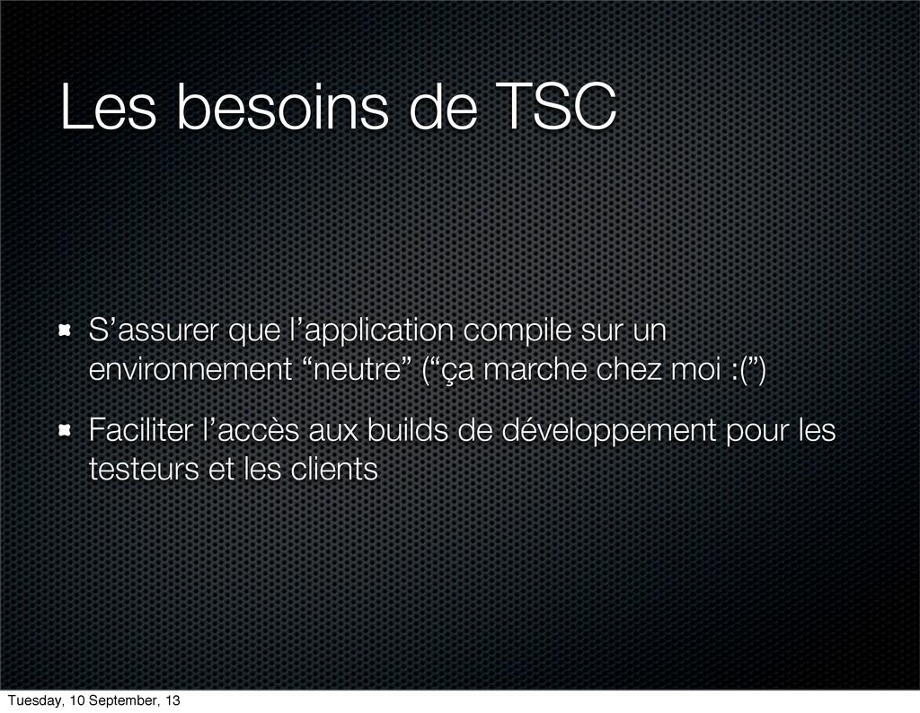 Les besoins de TSC S'assurer que l'application ...