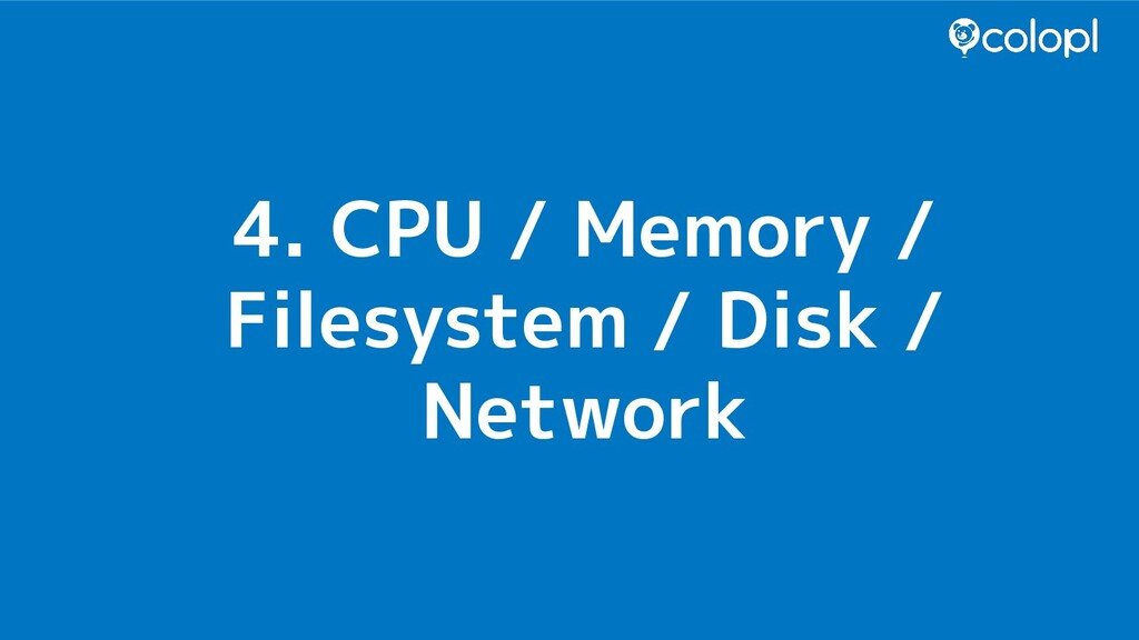 4. CPU / Memory / Filesystem / Disk / Network
